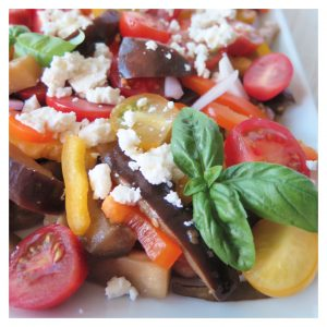 BAKED EGGPLANT, TOMATO AND FETA SALAD